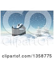 Clipart Of A 3d House And Trees On Top Of A Snow Covered Winter Mountain Royalty Free Illustration