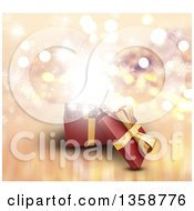 Clipart Of A 3d Open Christmas Gift Box With Magical Lights And Snowflakes Royalty Free Illustration