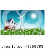 Low Angle View Of A 3d Rural House With A Windmill On A Green Hill With Daisies