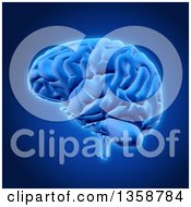 Clipart Of A 3d Human Brain Over Blue Royalty Free Illustration