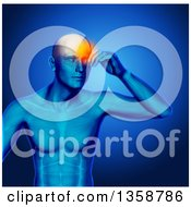 Clipart Of A 3d Xray Anatomical Man With Visible Muscles And Glowing Head Pain Over Blue Royalty Free Illustration by KJ Pargeter