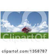 Clipart Of A 3d Large Autumn Maple Tree In A Flat Grassy Landscape Royalty Free Illustration by KJ Pargeter