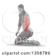 3d Anatomical Man Kneeling On The Floor With Glowing Spine Or Back Pain And Visible Skeleton On White
