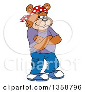 Clipart Of A Cartoon Bear Rapper With Folded Arms Royalty Free Vector Illustration by LaffToon