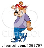 Clipart Of A Cartoon Bear Rapper Being Bashful Royalty Free Vector Illustration by LaffToon