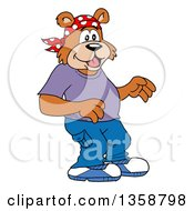 Clipart Of A Cartoon Surprised Bear Rapper Royalty Free Vector Illustration by LaffToon