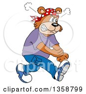Cartoon Angry Bear Rapper Rolling Up His Sleeves