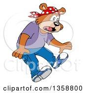 Cartoon Scared Bear Rapper