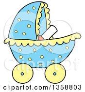 Cartoon Blue Polka Dot Baby Boy Stroller