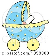 Clipart Of A Cartoon Blue Polka Dot Baby Boy Stroller Royalty Free Vector Illustration