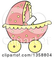 Clipart Of A Cartoon Pink Polka Dot Baby Girl Stroller Royalty Free Vector Illustration by LaffToon