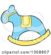 Clipart Of A Cartoon Blue And Yellow Rocking Horse Royalty Free Vector Illustration by LaffToon