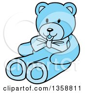 Clipart Of A Cartoon Blue Boys Teddy Bear Royalty Free Vector Illustration