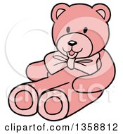 Clipart Of A Cartoon Pink Girls Teddy Bear Royalty Free Vector Illustration