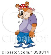 Clipart Of A Cartoon Sad Crying Bear Rapper Royalty Free Vector Illustration by LaffToon