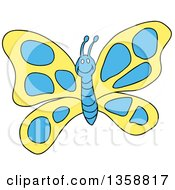 Clipart Of A Cartoon Happy Yellow And Blue Butterfly Royalty Free Vector Illustration