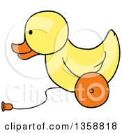Clipart Of A Cartoon Rolling Yellow Duck Toy Royalty Free Vector Illustration by LaffToon