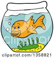 Cartoon Happy Goldfish In A Bowl