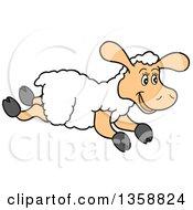 Cartoon Happy Running Lamb