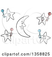 Clipart Of A Cartoon Crescent Moon And Stars Holding Baby Rattles Royalty Free Vector Illustration by LaffToon