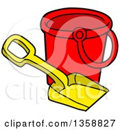 Clipart Of A Cartoon Beach Bucket And Shovel Toy Royalty Free Vector Illustration by LaffToon