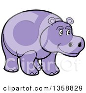 Cartoon Happy Purple Hippopotamus