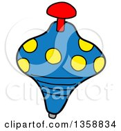 Clipart Of A Cartoon Spinning Top Toy Royalty Free Vector Illustration by LaffToon