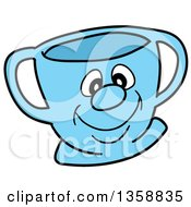 Poster, Art Print Of Cartoon Blue Happy Tea Cup