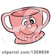 Poster, Art Print Of Cartoon Pink Happy Tea Cup