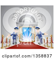 Clipart Of Welcoming Door Men At An Entry With A Red Carpet And Posts Under Opportunity Text Royalty Free Vector Illustration by AtStockIllustration