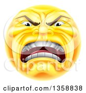 Clipart Of A 3d Furious Yellow Smiley Emoji Emoticon Face Shouting Royalty Free Vector Illustration