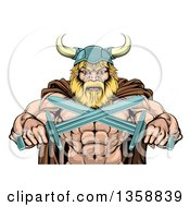 Clipart Of A Cartoon Tough Muscular Blond Male Viking Warrior In A Cape And Helmet Holding Crossed Swords From The Waist Up Royalty Free Vector Illustration