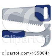 Clipart Of A Blue Handled Carpenters Hand Saw And Hammer Royalty Free Vector Illustration