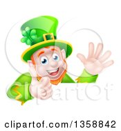 Clipart Of A Cartoon Happy St Patricks Day Leprechaun Giving A Thumb Up And Waving Over A Sign Royalty Free Vector Illustration by AtStockIllustration