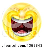 Clipart Of A 3d Yellow Smiley Emoji Emoticon Face Laughing Hysterically Royalty Free Vector Illustration by AtStockIllustration