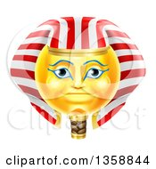 Clipart Of A 3d Yellow Smiley Egyptian Pharaoh Emoji Emoticon Face Royalty Free Vector Illustration by AtStockIllustration