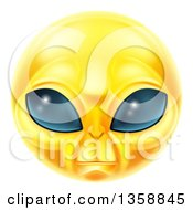 Clipart Of A 3d Yellow Extraterrestrial Alien Smiley Emoji Emoticon Face Royalty Free Vector Illustration