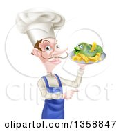 Clipart Of A White Male Chef With A Curling Mustache Holding A Fish And Chips On A Tray And Pointing Royalty Free Vector Illustration