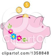 Clipart Of Coins Depositing Into A Pink Floral Piggy Bank Royalty Free Vector Illustration