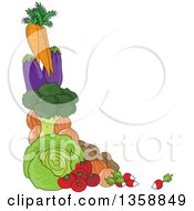 Clipart Of A Corner Border Of Carrots Eggplants Broccoli Cabbige Potatoes Tomatoes Onions And Radishes Royalty Free Vector Illustration