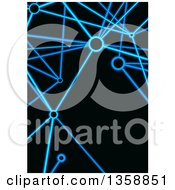 Clipart Of A Background Of Neon Blie Connections On Black Royalty Free Vector Illustration