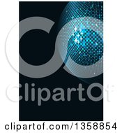 Clipart Of A Sparkly Blue Disco Ball Over Black Royalty Free Vector Illustration by dero