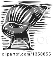 Clipart Of A Black And White Woodcut Introvert Hermit Man In A Shell Royalty Free Vector Illustration by xunantunich