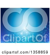 Clipart Of A Background Of Glowing Connections Over Blue Royalty Free Vector Illustration by dero