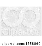 Clipart Of A Christmas Background Of White Snowflakes Stars And Swirls On Gray Royalty Free Vector Illustration