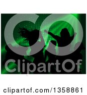 Clipart Of A Background Of Black Silhouetted Young Dancers Over Green Lights And Disco Circles Royalty Free Vector Illustration by dero