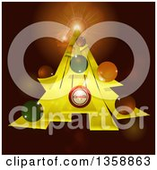 Clipart Of A Yellow Stripe Christmas Tree With Bauble Ornaments And Flares On Brown Royalty Free Vector Illustration