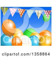 Clipart Of A Background Of 3d Colorful Party Balloons Under A Bunting Banner On Blue Royalty Free Vector Illustration by elaineitalia