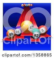 Clipart Of 3d Colorful Bingo Balls On Red Stripes Over Blue With White Sides Royalty Free Vector Illustration