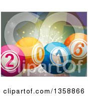 Clipart Of 3d New Year 2016 Bingo Or Lottery Balls Over A Burst Royalty Free Vector Illustration by elaineitalia